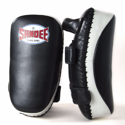 Sandee Curved Thai Kick Pads - Black/White